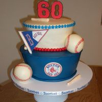 Red Sox Birthday Cake Red Sox themed birthday cake for my Mom's 60th Bday (she is fanatic about her Red Sox!). The tiers are tapered and covered in MMF. The...