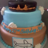 Pilot Themed Cake Fondant covered cake.