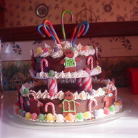 A Very Merry Go Round Cake This cake was a lot of fun. I got the idea from the Wilton website. The gingerbread men are made of rolled fondant (red & green make a...