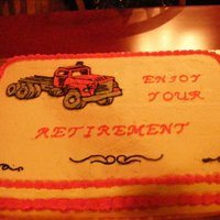 Trucker Retirement Cake A cake I made for a co-worker of my husbands. My first time with using gel to transfer outline (of truck) to fill in with color.