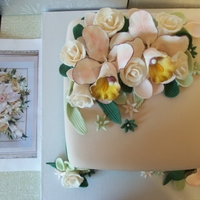 Cake The flowers are all fondant & gum paste and the cake is a Chocolate Cake w/ Vanilla buttercream!