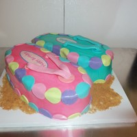 Suzie Cakez Cupcakes Ice cream cake one flip flop vanilla the other chocolate and fondant decorations