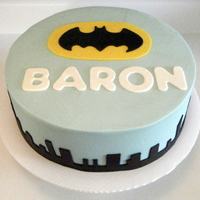 Batman Birthday Cake   Batman birthday cake with skyline border. Strawberry cake with white chocolate ganache filling