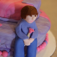 10Th Birthday Justin Bieber Devil's food cake with chocolate filling, covered in fondant with a fondant 'Justin Bieber'