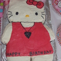 Hello Kitty Birthday Cake This cake has a chocolate body, vanilla head, and was covered in vanilla buttercream