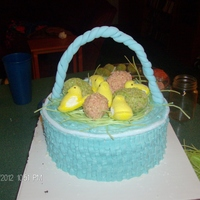 Easter Basket BC basket weave, edible easter grass, RC eggs, peeps, with MMF handle and rim.