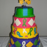 Hair Ball Cake This cake was for the Hair Ball which is a benefit ball for the American Cancer Society. This was my first big cake. All the decorations...
