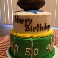 Steelers Football Birthday Cake The football is rice crispy treats covered in chocolate
