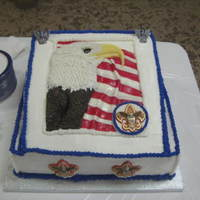 Eagle Scout Each feather was individually cut & placed. Used Buttercream, royal icing & fondant. The emblems were made from fondant & hand...