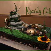 Pond Cake~ This cake was for the Green Party of Canada, everything on this cake is edible.