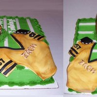 Football Cake the football is rice krispy treat coved with fondant