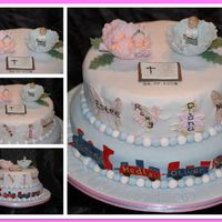 Sibling Christening Can you tell I like mosaic pictures!!Christening cake for a brother and sister aged 2 and 6 months respectively. Vanilla sponge on bottom...