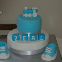 Naming Ceremony Cake My sons Naming Ceremony Cake. The whole cake is edible. Icing and decorations are all fondant