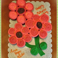 Mother's Day Flower Cupcake Cake Cupcakes shaped like 3 Flowers with Buttercream Icing