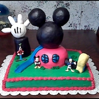 Mickey Mouse Clubhouse Cake Vanilla & Strawberry Cake with Buttercream Icing and MMF...