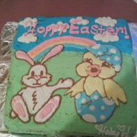 Bunny & Chick Easter Cake a simple buttercream piped cake.