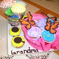 Cupcake Flower Bouquet With Butterflies