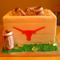 Jason A groom's cake I made for my cousin's wedding. Texas Longhorns themed! The ice is sugar, the cans are real.