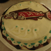 Alaskan Native Art Cake This is a cake I made for my dad, who is an avid collector of Tlingit Native art. The salmon is made of melting chocolate which I piped and...