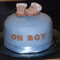 Oh Boy i did this cake for a baby shower recently. 3 layer vanilla cake with lemon filling, lemon buttercream smoothed. I made the booties from a...