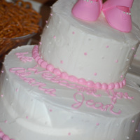 Baby Girl Shower Chocolate cake with buttercream filling and icing. Gumpaste baby booties. Thanks for looking!