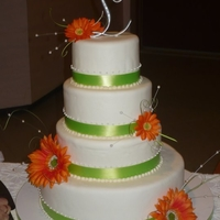 Spring Wedding Cake White round wedding cake with lime green ribbon and orange gerber daisies