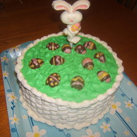 Easter Cake My first time doing basket weave, rabbit and eggs are chocolates I made.