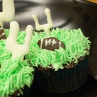 Football Cupcakes I made all the little chocolate bits (goals and footballs) the night ahead: and then the next day brought them down while I baked the cakes...