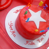 Cowboy Star I made this cake for all the little one's at the party that were gluten and dairy free. Betty Crocker gluten free mix (turned out very...