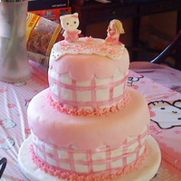 Hello Kitty In Pink This was for a friend's daughter who turned 4 this last weekend. Cakes were white cake with strawberrry cream cheese filling and dark...