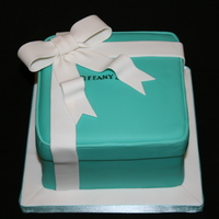 Tiffany Box Lemon cake, filled with lemon curd and lemon buttercream. Gumpaste bow. Made for a friend who loves jewellery