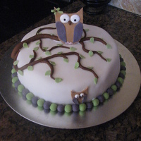 Owl On A Limb Inspired by the two owl cakes I found on here last week. Just wanted to try it. Very new at this. All fondant over buttercream.