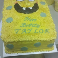 "Spongebob 1st Spongebob cake. Covered in BC. Eyes, nose, ""bubbles"" and teeth are fondant, and mouth is chocolate molding clay. TFL!"