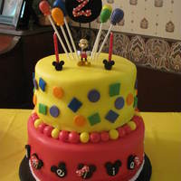 "Mickey Mouse 2Nd Birthday Made for the daughter of a friend of mine. Idea from jcakehomemade.blogspot.com. 10"" double layer and 8"" double layer cakes. My..."