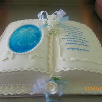 Confirmation Book Cake Edible paper with confirmation prayer I also used the cake cricut to add some details to the cake