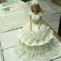 Doll Cake Barbie doll cake pan used to make a First Communion cake. Plain Pound cake covered with rolled surger paste