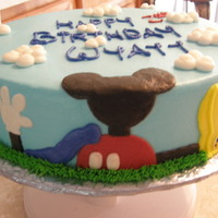 Mickey's Playhouse All buttercream. Design taken from about a thousand different CC cakes! :)
