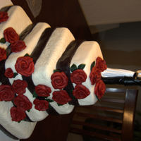 First Attempt At A Wedding Cake The bride selected the style, colors to match her topper, this was my first attemp at a fondant wedding cake, roses are fondant flavored...
