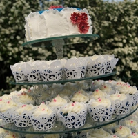 Cupcake Cake Wedding Cake  100 cupcakes and an 8 inch cake. Custom made glass stand done by a friend that owns a glass company. Cake and cupcakes were blue velvet to...