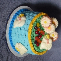"Easter 2011   My first basket weave attempt. Good thing it was a 6"" cake."