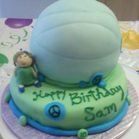 Volleyball All cake covered in fondant. Sugar paste girl. Birthday girls favorite colors are green and blue. ;)