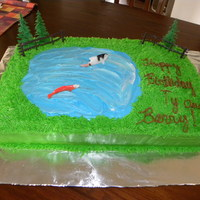 Huntin Fishing Outdoors Cake White and Chocolate marbled cake with buttercream frosting.