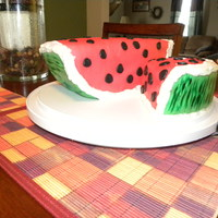 Watermelon Cake Chocolate cake with buttercream and MMF.