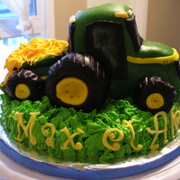 John Deere Tractor Cake Red Velvet cake with Traditional Whipped Vanilla Frosting. Cake order for 2 year old Twin Boys who LOVE green tractors!