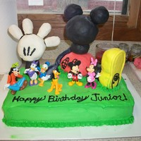 Mickey Mouse Clubhouse I used rice krispies treats and marshmallow fondant for the clubhouse pieces.