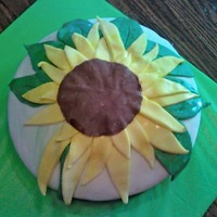 Sunflower had fun cutting out petals and arranging them...made this for a co-worker's birthday