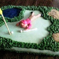 Golf learned alot about adding color to icing but loved my pond with my HOMEMADE piping gel....made this for my husband's birthday....he...