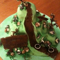 Bike Rider This is a chocolate cake filled with chocolate buttercream covered in MM fondant. The rocks are also fondant. The signs are gum past and...
