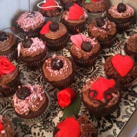 Sweets For My Sweetie! A Valentines Day treat! These are triple chocolate cupcakes with dark chocolate cherry icing. Each have a hand dipped chocolate covered...