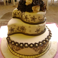 Cream And Dark Brown Wedding Cake